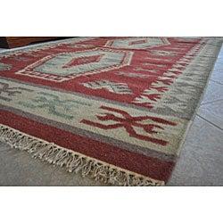 Handmade Elite Southwestern Wool Flatweave Rug (9' x 12') - Thumbnail 1