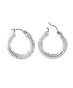 Journee Collection Sterling Silver Medium Hoop Earrings - Thumbnail 1