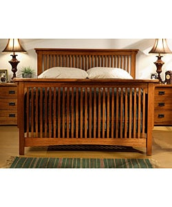 Mission Solid Oak Queen-size Spindle Bed - Thumbnail 1