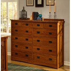 Mission Solid Oak 4-piece Queen Bedroom Set w/ 12 Drawer Chest