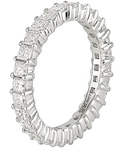 18k White Gold 2ct TDW Full Diamond Eternity Band - Thumbnail 1