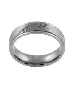 Men's Titanium Comfort Band Ring with Diamond-cut Designs - Thumbnail 1