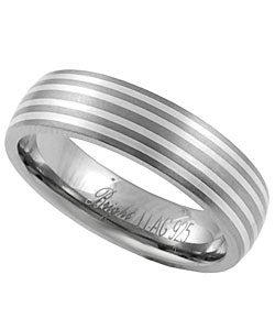 Journee Collection Men's Titanium and Sterling Silver Comfort Band - Thumbnail 1