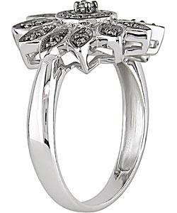 14k White Gold 1/6ct TDW Diamond Flower Ring - Thumbnail 1