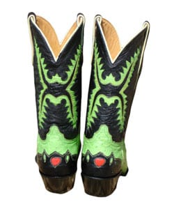 Jurassic Lime Green and Black Ostrich Cowboy Boots - Thumbnail 1