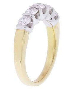 14k Two-tone Gold 1ct TDW Diamond 5-stone Ring (G, I1) - Thumbnail 1