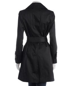 Anne Klein Black Double-breasted Lightweight Trench Coat - Thumbnail 1