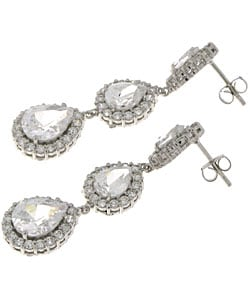 Charles Winston Dangling Style Clear CZ Earrings