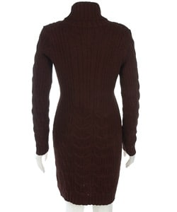 Coupe Long Sleeve Cable Knit Sweater Dress - Thumbnail 1