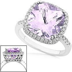 Annello by Kobelli 14k White Gold Amethyst 1/3ct TDW Diamond Ring - Thumbnail 1