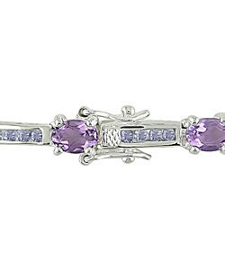 Miadora Amethyst and Tanzanite Silver Bracelet - Thumbnail 1
