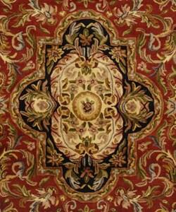 Safavieh Handmade Classic Royal Red/ Black Wool Rug (5' x 8') - Thumbnail 1