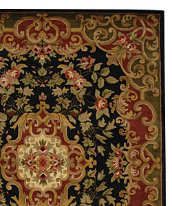 Safavieh Handmade Classic Juliette Black/ Green Wool Rug (9'6 x 13'6) - Thumbnail 1