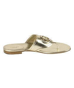 3a235dfd000 Shop Gucci  Britt  Gold Leather Thong Sandals - Free Shipping Today ...