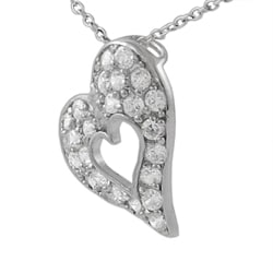 Journee Sterling Silver Heart in a CZ Pave Heart Necklace - Thumbnail 1