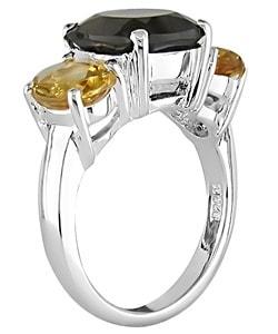 Sterling Silver Smokey Quartz and Citrine Ring