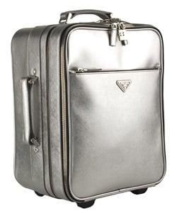 Prada Small Silver Leather Rolling Suitcase - Thumbnail 1