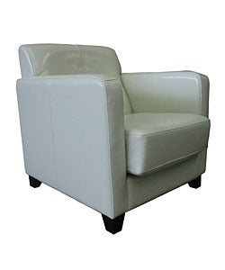 Shop Milan White Leather Club Chair - Free Shipping Today ...
