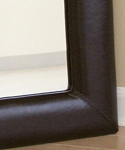 Aiken Dark Brown Bi-cast Leather Frame Mirror - Thumbnail 1