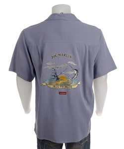 Joe Marlin Men's Embroidered Silk Shirt - Thumbnail 1