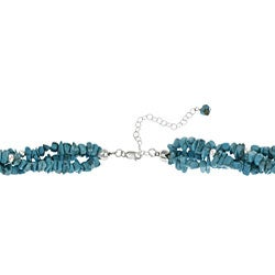 Glitzy Rocks Sterling Silver 3-strand Turquoise Chip Necklace - Thumbnail 1