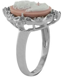 Sterling Silver CZ Pink Lady Cameo Ring - Thumbnail 1