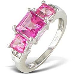 10k White Gold 2 1/4 TGW 3-Stone Pink Topaz Ring ( J/K, I2/I3 ) - Thumbnail 1