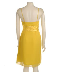 Democracy Women's Yellow Chiffon Pleated Dress - Thumbnail 1