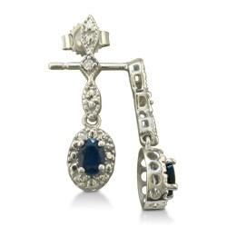 10k White Gold Blue Sapphire and Diamond Earrings - Thumbnail 1
