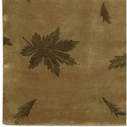 Hand-knotted Brown Floral Karur Collection Semi-Worsted Wool Rug (5' x 8') - Thumbnail 1