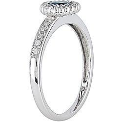 10k Gold Light Blue Sapphire and 1/10ct TDW Diamond Ring - Thumbnail 1