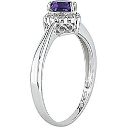 10k Gold Heart-shaped Amethyst and Diamond Ring