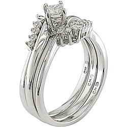 14k White Gold 1/3ct TDW Diamond Bridal Ring Set - Thumbnail 1