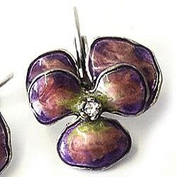Sweet Romance Enamel Pansy Earrings