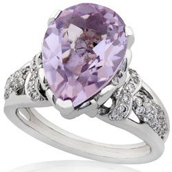 Annello by Kobelli 18k Gold Lavender Amethyst and 1/3ct TDW Diamond Ring (H, VS-SI) - Thumbnail 1