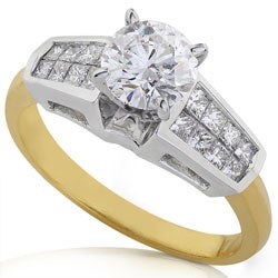 Annello by Kobelli Platium and 18k Gold 1 1/2ct TDW Certified Diamond Engagement Ring (F-H, VS-SI2) - Thumbnail 1