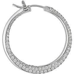 Miadora 18k White Gold 3 1/2ct TDW Diamond Hoop Earrings - Thumbnail 1