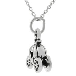 Journee Collection Sterling Silver Pumpkin Carriage Necklace - Thumbnail 1