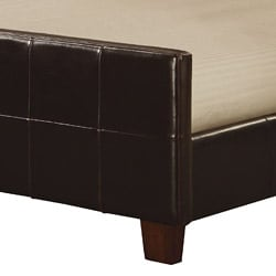 Chocolate Leather Queen-size Panel Bed - Thumbnail 1