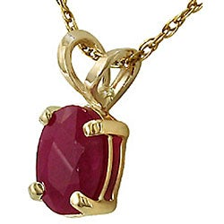 14k Yellow Gold Oval Ruby Necklace - Thumbnail 1