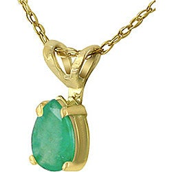 14k Yellow Gold Pear-shape Emerald Necklace - Thumbnail 1