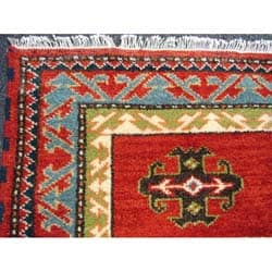 Indo Kazak Hand-knotted Red Rug (3' x 5') - Thumbnail 1