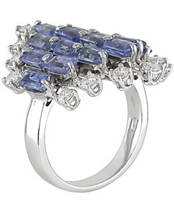 18k Gold Light Blue Sapphire and 5/8ct TDW Diamond Ring (G-H, SI) - Thumbnail 1