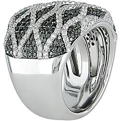 Miadora 18k Gold 2 1/8ct TDW Black and White Diamond Ring (G-H-I, SI) - Thumbnail 1