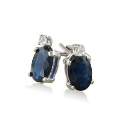 14k White Gold Sapphire and Diamond Stud Earrings - Thumbnail 1