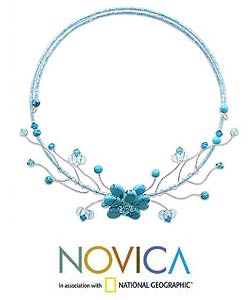 Stainless Steel 'Thai Floral' Turquoise and Topaz Choker (Thailand) - Thumbnail 1