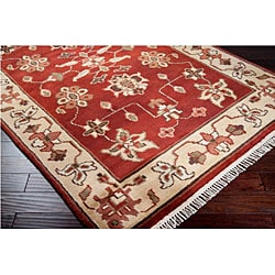 Hand-knotted Burgundy/Ivory Southwestern Park Ave  Wool Rug (9' x 13') - Thumbnail 1