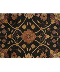Hand-knotted Nargess Black Wool Rug (4' x 6') - Thumbnail 1