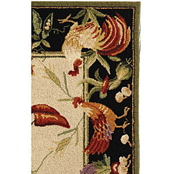 Safavieh Hand-hooked Rooster Garden Ivory/ Black Wool Rug (2'9 x 4'9) - Thumbnail 1