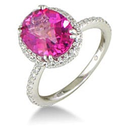 14k White Gold Pink Topaz and 1/2ct TDW Diamond Ring (J/K, I2/I3) - Thumbnail 1